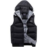 Wholesale Vest Winter Jacket Men - Fashion Sleeveless Jacket 2017 Men Thickening 100% Cotton Vest Hat Hooded Warm Vest Winter Waistcoat Men Casual Windbreaker