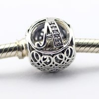Wholesale Vintage Movie Letter - Vintage A Clear CZ 001 100% 925 Sterling Silver Bead Fit Pandora Fashion Jewelry DIY Charm Brand