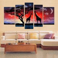 Wholesale Decorative Group Oil Painting - Modern Hand-painted high Q wall art home decorative Landscape giraffe group oil painting on canvas Blooming 5pcs set