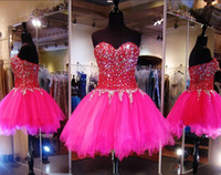 Wholesale teen prom dresses short - Fuchsia Sweetheart Homecoming Dresses Beaded Collar Crystals Short Party Dress Evening Wear Tulle Layers Zipper Back Teens Short Prom Dress