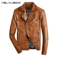 Wholesale leather belt jacket men - Wholesale- VELALISCIO 2017 New Autumn Winter men Motorcycle Faux Leather Jackets Men Biker PU Zipper Outerwear Coat With Belt Hot Leather