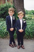 Wholesale Little Boys Image - Navy Blue 2 Pieces Suit For Little Boys Cool Kids Formal Wear Custom Made Boy Wedding Suit (Jacket + Pants)