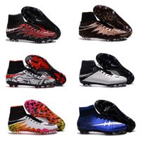 Wholesale High Ankle Baby Shoes - Hot Sale New Cheap Football Hypervenom Boots High Ankle Hypervenom Phantom II FG Soccer Cleats Men Soccer Shoes Baby, Kids White Rainbow