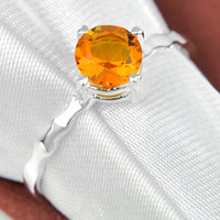 Wholesale Fire Citrine - Rings 5 Pcs 1 Lot Wholesale Fire Round Brazil Citrine Gemstone 925 Sterling Silver Ring Russia American Australia Weddings Jewelry Gift