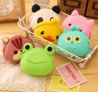 Wholesale Jelly Coin Purse Free Shipping - 100pcs Cute Mini key Wallet bag Women Silicone Coin Purse Japanese Candy Color lovely Animals Jelly Silicone Coin bag By DHL Free shipping