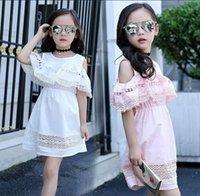 Wholesale Summer Dress Large - Retail 2017 Summer New Girl Dress Lace Ruffles Sundress Large Children Princess Dress Children Clothes 4-14T DD056