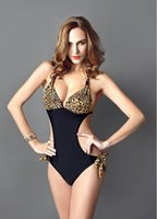Wholesale Leopard Sexy One Piece - 2016 New Arrival Women Push Up Sexy One Piece Swimsuit Monokini Swimwear Retro Halter Bathing Suit Leopard Fashion Bathsuit 3176
