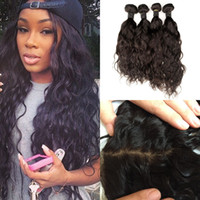 Wholesale Silk Base Brazilian Wave - 4 Bundles With Silk Base Frontal Closure Virgin Brazilian Water Wave Silk Lace Frontal 13x4 G-EASY