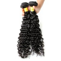 Wholesale Malaysian Virgin Hair Weave 2pcs - 8-32inch 8A Peruvian Virgin Hair Deep Curly Wave Hair Weaves Human Hair Weft Unprocessed Natural Color 2pcs  lot Free Shipping