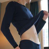 Wholesale Tight Fitting Underwear - Thermal Underwear For Men Thicker Plus Velvet Thickening Tight-Fitting Low Collar O-Neck Cotton Underwear Cueca Compression Top