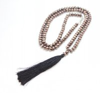 Wholesale Wholesale Long Beaded Necklaces - Wholesale-Black crystal Beaded Tassel Pendant Long necklace For Women Jewelry