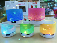 Wholesale Mp3 Can Speakers - 2016 hotsale Mini portable S10A9 crackle texture Bluetooth Speaker with LED light can insert U disc, mobile phone player with retail box