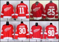 Wholesale Cheap Stitched Nhl Jerseys - Cheap Detroit 30 Chris Osgood 11 Daniel Alfredsson 25 Mike Green 90 Mike Modano Red Home Red Wings Nhl Ice Hockey Stitched Jerseys
