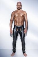 ingrosso pantaloni feticci uomini-Pantalone muscoloso in PVC sexy esotico Fetish Club da uomo GAY con apertura sul cavallo Pantaloni Pantaloni 6722