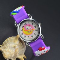 Wholesale Watch Kids Kitty - 3D Cartoon Lovely Kids Girls Boys Children Students Hello Kitty Quartz Wrist Watch Very Popular