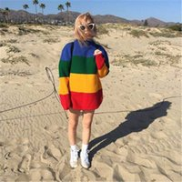 Wholesale Rainbow Coat Wholesale - New Fashion Women Sweater Casual Brand Pullover Autumn Knitted Coat Rainbow Striped Korea Style Boyfriend Feminino Large Size