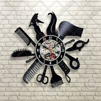 Wholesale Friends Walls - Hairdresser Barber Shop Salon Vinyl Wall Clock,Best Christmas Gift for Friends,Record,Modern special design,Room,home and office decoration