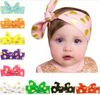Wholesale Lace Stamps - Baby Girls Bunny Ear headbands Bow newborn Kids Hot stamping Polka Dots Diy Headband Turbands Children baby boutique hair accessories