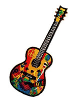 Coolest Colourful Embroidery Guitar Patch, Musical Instruments Iron On Or Sew On Embroidered Patches 5 INCH high Free Shipping