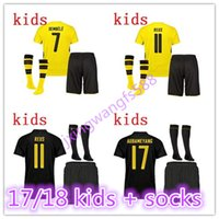 Wholesale Thailand Quality Soccer Jerseys Xxl - Thailand quality 2017 2018 PULISIC soccer jerseys Kids + socks 17 18 youth AUBAMEYANG GOTZE MOR REUS home away football jersey