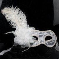 Wholesale Red Mask For Prom - Venetian Lace Mask with Feather Flower for Masquerades, Costume Balls, Prom, Mardi Gras Red White Black 3 Clour Option