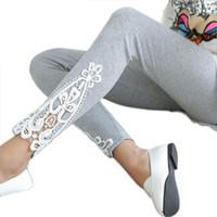 Wholesale Leggings Sellers - Wholesale-Best seller Fashion Autumn Women Leg Triangle Side Lace Leggings Jan22