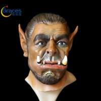 Wholesale Latex Cartoon Movies - Free shipping 2016 Movie Durotan Mask Adults full face Latex Mask Party Halloween cosplay Macka Halloween Carnival Party