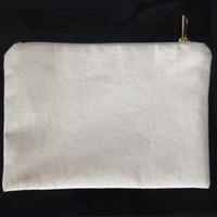 fildişi beyaz renk toptan satış-Düz doğal pamuk kanvas kozmetik çantası eşleşen renk astar ile altın zip 7x10in boş makyaj çantası DIY için boya / baskı siyah / beyaz / fildişi
