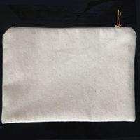 elfenbein make-up großhandel-schlichte, natürliche Baumwolle Canvas Kosmetiktasche mit passender Farbe Futter Gold Zip 7x10in leere Kosmetiktasche für DIY Farbe / Druck schwarz / weiß / Elfenbein