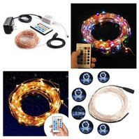 Wholesale 12v led light strings - New 100 LEDs 33 ft Copper Wire String Light Christmas Party Fairy Light 10M Dimmable LED String Light with key remote 10 levels brightness