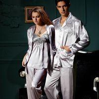 Wholesale Couple Pajamas Set - Wholesale- XIFENNI Brand Couple Pajamas Long-Sleeved Pajama Pants Sets Sexy Satin Silk Pyjama Lounge Sets Embroidery Hot Trend 3313 8306