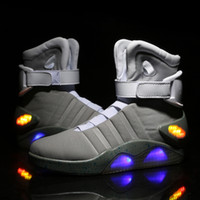 Wholesale Lead Shoe Laces - AIR MAG Back Future led shoes high top Marty mCfLy Colorful Led Shoes For men Luxury Grey Black charger Mag Limited Edition Sneaker