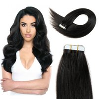 Wholesale Tapes For Hair Pieces Wholesale - Tape in Brazilian remy human hair extensions for Lady 20-30 inch 2g  piece 20 pieces set straight tape hair products natural color