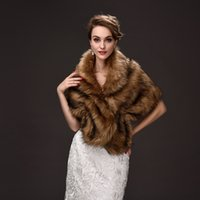 Wholesale Wraps For Winter Weddings - Elegant Faux Fur Bridal Wraps Brown Color Wedding Bridal Wrap Women Shawl For Special Occasion Wedding Shawl Free Size for Winter