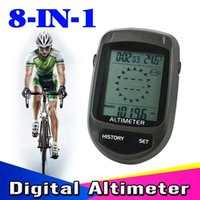 Wholesale Barometer Thermometers - Digital 8 in 1 LCD Backlight Bicycle Altimeter Compass Cycling Barometer Thermometer Temperature Forecast + Bike Holder