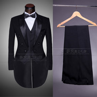 Wholesale Straight Wedding Dress Short Sleeves - Wholesale-Custom Brand New cool Groom Tuxedos Men Wedding Dress Bridegroom Suit Best man Suit swallow-tailed coat (Jacket+Pants+tie+vest )
