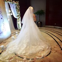 Wholesale Ivory Wedding Veils Crystals - Attractive Long Bridal Veil Ivory White Soft Tulle Wedding Veils with Lace Appliques Crystals Cathedral Tulle Accessories Top Quality