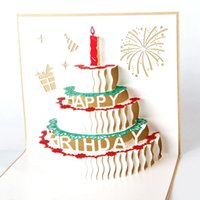 Wholesale Cheap Greetings Cards - Wholesale Vintage 3D Pop Up Stereoscopic Greeting Card Handmade Cheap Gift Cards Decoupage Custom Birthday Cake Postcard