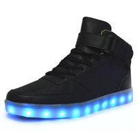 Wholesale Denim Top Boy - Led Shoes Man USB Light Up Unisex Sneakers Lovers For Adults Boys Casual Students Sports Glowing With Fashion High Top Lights Board Shoe