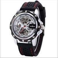 Wholesale Men Black Rubber Suits - Stylish Men Black Dial Sports Automatic Mechanical Silicone Wristwatch Fashion Punk Casual Dress Suit Auto Skeleton Rubber Band Watches Box