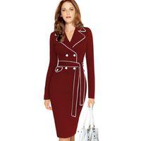Wholesale Dress Women Long Red Belt - Dress Women 2016 Autumn Panelled Lapel V-neck Belt Slim Package hip Double-breasted Lapel Pencil Dresses Skirt