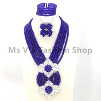 Wholesale Wedding Jewelry Sets Royal Blue - 2017 new royal blue African Beads Jewelry Set Lady Costume Crystal Jewelry Set Dubai Gold Plated Necklace Set Free Shipping