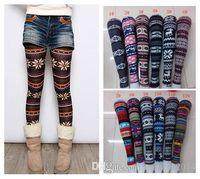 Wholesale Colorful Snowflake Leggings - 2014 Women Printed Leggings Colorful Snowflake Christmas Deer Graffiti Legging Cashmere Knitted Slim Leggings Tights 300pcs