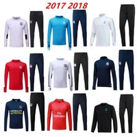 Wholesale Yellow Sweat Suits - Soccer tracksuits 17 18 Best quality survetement football Marseille Real Madrid training suit sweat top chandal soccer jogging football pant