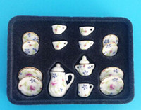 Wholesale Toys Tea Set - 1:12 12PCS Porcelain Tea Set Porcelain White Tea Set Afternoon Tea Miniature Toy For Re-ment Orcara Children Play Tea Toys free shipping