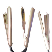 Wholesale Tool Mm - 2017 360 Rotatable Gold Plated Titanium Hair Iron Straightener Plates Brush Ceramic 2 In 1 Hair Curler Styling Tools with LCD US UK AU Plug