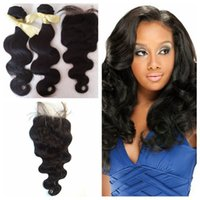 Wholesale perfect machine - Unprocessed Human hair Weave 1B Body Wave with a free Lace Closure Middle Part 4x4 Perfect Hair Extensions for Party G-EASY