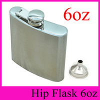 Wholesale 6oz Flask Funnel - 2018 HOT With Free Funnel 6oz Stainless Steel Hip Flask Outdoor Portable Flagon 6 Ounce Hip Flasks Whisky Alcohol Stoup Wine Pot Wholesale