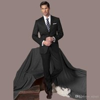 Wholesale Grey Bespoke Tuxedo - Wholesale-Hot Sale 2016 New Custom Made Bespoke Black Formal Business Suit Regular Fit Groom Tuxedos Smoking Casamento (Coat+Pants)