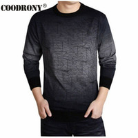 Wholesale T Shirt Sweater Dress - COODRONY Cashmere Sweater Men Brand Clothing Mens Sweaters Print Hang Pye Casual Shirt Wool Pullover Men Pull O-Neck Dress T 613